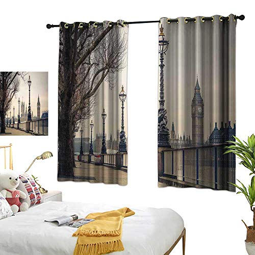 Drapery Velvet Panels Tan - Anzhutwelve Thermal Insulated Curtains London,Big Ben and Houses of Parliament The Riverside with Retro Lanterns Picture,Tan Grey and Ivory W55 x L39 Drapery Panels