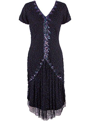 Vijiv Women's Vintage 1920s Flapper Dress Sleeves V Neck Sequin Beaded Roaring 20s Great Gatsby Dress Black #2 -