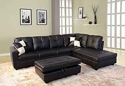 Beverly Furniture Beverly Black 3 PieceFaux Leather Left-facing Sectional Sofa Set with Storage Ottoman, Black