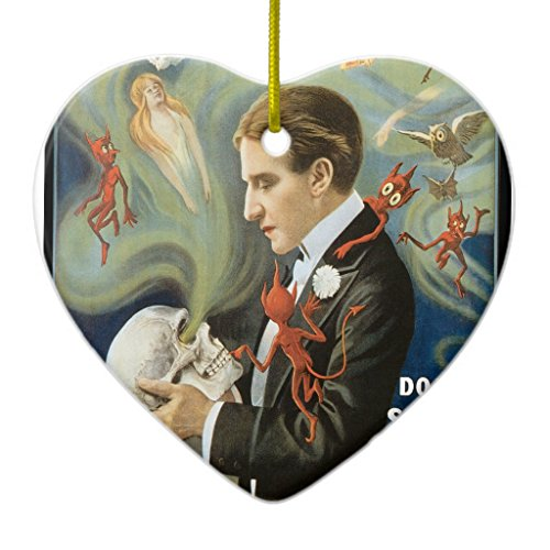 Zazzle Thurston the Great Vintage Magician Poster Metal Ornament Heart (Hanging Thurston)