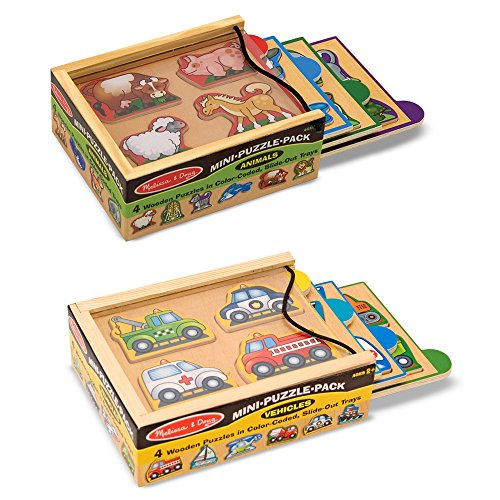 Melissa & Doug Wooden Mini-Puzzle Set With Storage and Travel - Wooden Puzzle Box Set