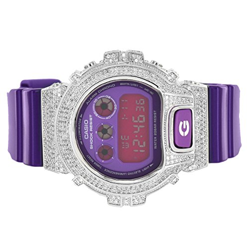 Purple G Shock Watch DW6900CC-6DS Glossy Strap Purple Face Simulated Diamond New