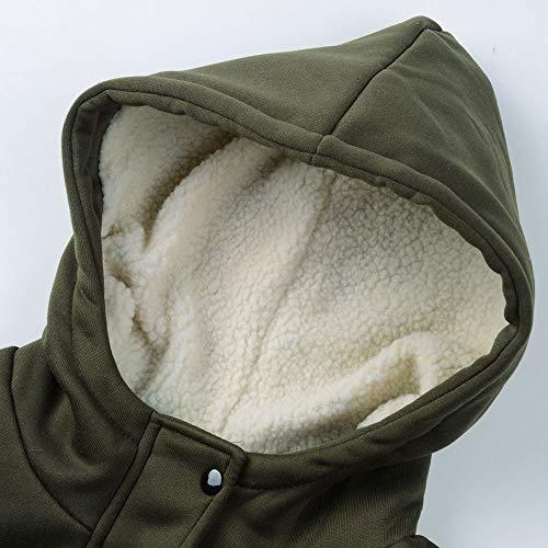 Capuche Hoody Jacket À Veste Outwear Chaud Blouson Hiver Automne Manches Épais Armée Corne Fit Slim Hoodie Manteaux Longues Vert Bouton Higlles❤femmes g50xqOEwn