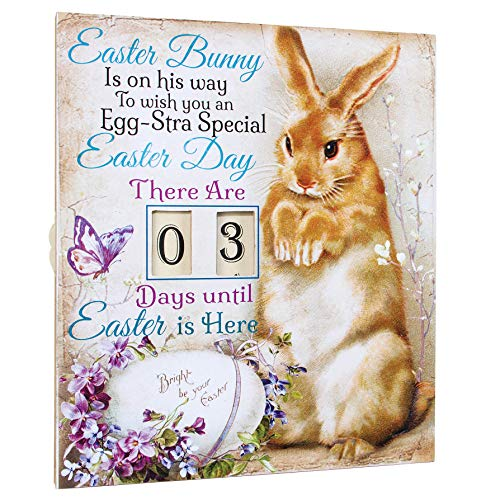 OHIO WHOLESALE, INC. Countdown to Easter Bunny Floral Purple 12 x 11 Wood Decorative Plaque]()