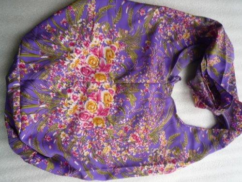 Handgefertigte Beuteltasche aus Baumwolle mit Blumenmuster, violetttöne