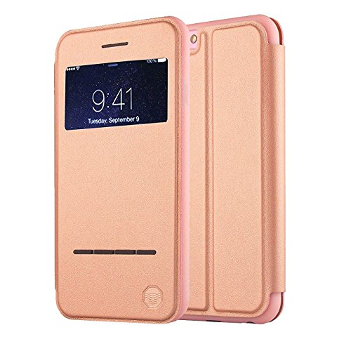 Front Cover Window (Nouske iPhone 6 Plus/iPhone 6S Plus Case Smart Touch/S-View Window Flip Cover/Magnetic Closure/Stand/TPU bumper/360 protection, Rose Gold)