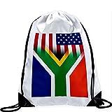 Large Drawstring Bag with Flag of South Africa - Flag w USA Flag - Long lasting vibrant image