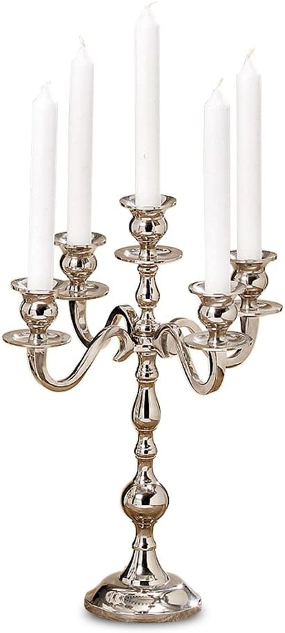 Hamptons Five Arm Silver Candelabra, Hand Crafted of Silver Aluminum Nickel, Over 1 Ft Tall (13.75 Inches ) from The Hotel Resort Collection