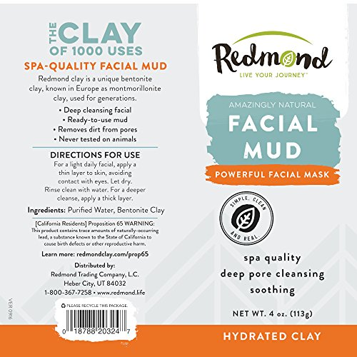 Redmond Facial Mud, Hydrated Clay, 4 Ounce Tube (12 Pack) Age Defying Apricot Probiotic Cleansing Milk - 1.7 fl. oz. by Andalou Naturals (pack of 12)