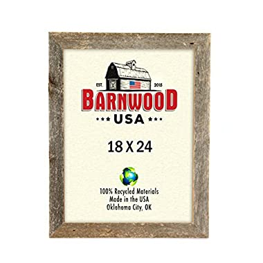 BarnwoodUSA Rustic 18x24 Wooden Picture Frame With 2  Wide Molding - 100% Reclaimed Wood