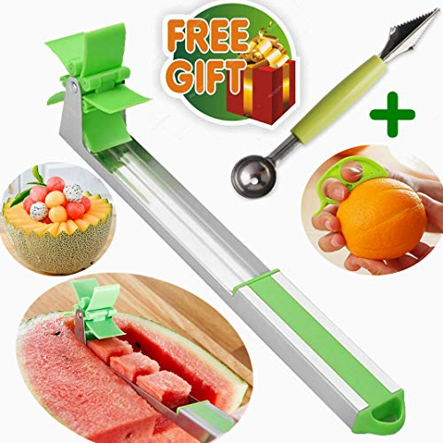 Watermelon Slicer Cutter Stainless Steel(Gift Box+1pc Melon Baller with Carver knife+2pcs Orange Peelers) Windmill Cantaloupe corer,Cubes Cut Fruit Scooper Great Tool Kitchen Gadgets