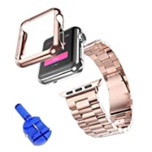 Apple Watch Band, DDLBiz Solid Stainless Steel Metal Strap Band w/Adapter+Case Cover for Apple Watch iWatch 38 mm (Rose Gold)