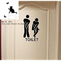 Removable Cute Man Woman Washroom Toilet WC Wall Sticker...