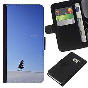 EJOY---La carpeta del tirón la caja de cuero de alta calidad de la PU Caso protector / Samsung Galaxy S6 EDGE / --Nieve Cielo Azul Pequeño Árbol Negro