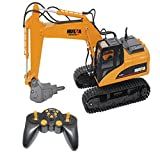RC Truck Alloy Disassemble Broken Excavator 1/14 16 Ch Remote Control Construction Vehicle Crawler Tractor Car Model Drilling Built-in Battery for HUINA 1560 Electronic Hobby Games Toy (USB)