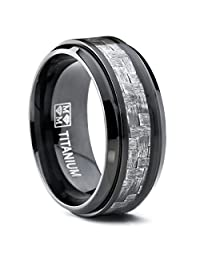 Metal Masters Co.® 9MM Black Titanium Men's Wedding Band Ring with Wide Gray Carbon Fiber Inlay, Comfort Fit