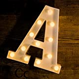 Foaky LED Letter Lights Sign 26 Alphabet Light Up Letters Sign for Night Light Wedding Birthday Party Battery Powered Christmas Lamp Home Bar Decoration (A)