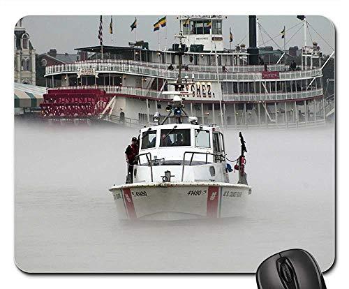 Mouse Pads - Us Coast Guard Patrol Boat Fog Mississippi River