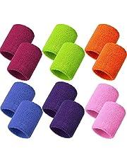 Meet-shop Zweetbanden, absorberend, zweetband voor pols, 6 para, elastische katoenen sportpolsbanden voor tennis, squash, badminton, gymzaal, basketbal