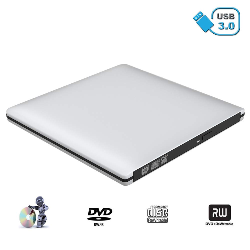 VersionTECH. Grabadora Lector CD/DVD USB 3,0 Ultra Slim Portátil Unidad Externa Burner Lector Óptico CD/DVD/-RW/-RW SuperDrive para MacBook/MacBook ...