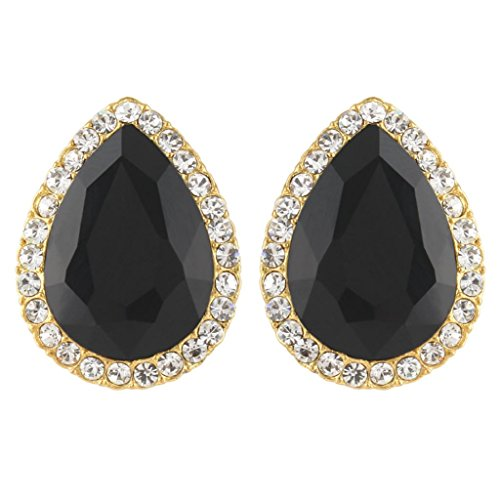 EVER FAITH Women's Austrian Crystal Wedding Teardrop Stud Earrings Black Gold-Tone