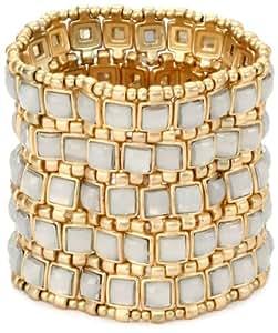 "RAIN ""5 Row"" Gold and White Stretch Cuff Bracelet"