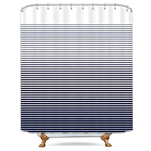 Cdcurtain Ombre Cross Stripes Shower Curtain Weighted Hem Creative Blue Decor Fabric Set Polyester Waterproof Fabric 72x72 Inch Free 12-Pack Plastic - Curtain Stripe 3 Shower