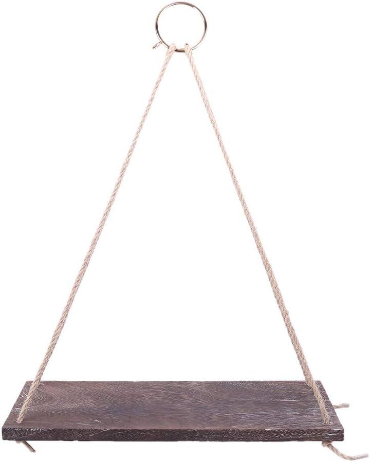 KINTRADE Estante Decorativo de Madera para Colgar en la Pared Columpio Cuerda Estantes flotantes Colgador de Plantas Soporte para Maceta Dislplay Decoraci/ón r/ústica para el hogar Almacenamiento