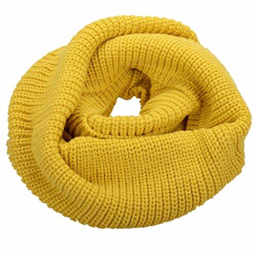 NEOSAN Womens Thick Ribbed Knit Winter Infinity Circle Loop Scarf Mustard