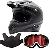 Adult Snocross Snowmobile Helmet & Goggle Combo - Matte Black, Black/White (XL)