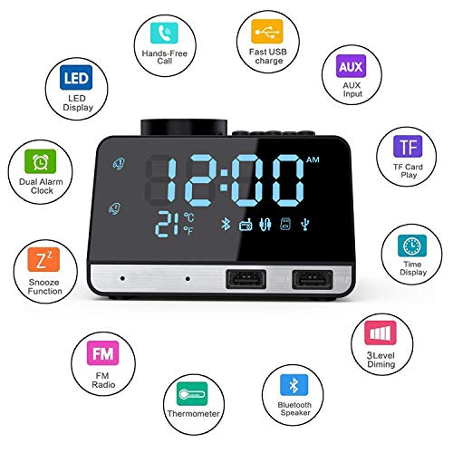 MKYUHP Alarm Clock Radio with Bluetooth Speaker,Double USB Charger,Dual Alarm,Snooze,AUX TF Card and Thermometer Mini Portable Digital Dimmer Clock Radio for Bedrooms Home and Kitchen (Bluetooth Digital Alarm Clock)