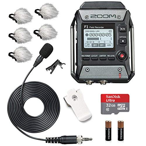 - Zoom F1-LP Field Recorder & Lavalier Microphone Bundle with Movo Deadcat Windscreens (5PK) & 32GB Micro SDHC Card