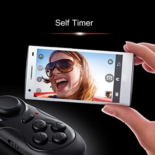 Mini portátil multifunción inalámbrico Bluetooth 2.0 Self Timer Selfie obturador alejado para Apple IOS Android 4.0 juego de consola Gamepad Controller APK ICADE juegos negro
