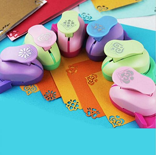 Fascola Pack of 6 Embossing DIY Corner Paper Printing Card Cutter Scrapbook Shaper large Embossing device Hole Punch Kids Handmade Craft gift YH01,Random design and ()