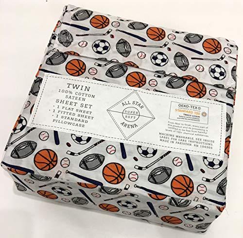 - All Star Arena Sports Twin Sheet Set | 100% Cotton Sateen | Football Soccer Baseball Basketball Hockey