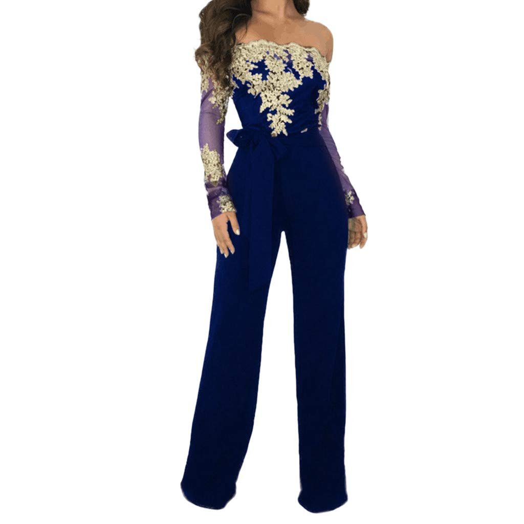 Women Jumpsuits Sexy Lace Off Shoulder Lace Up Long Sleeve Wide Leg Playsuit Rompers with Belt Elegant Work Jumpsuits Blue by Daoroka Rompers & Jumpsuit