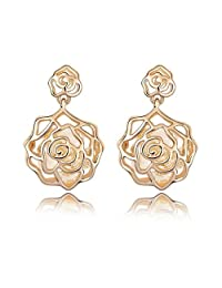 Golden Swarovski Elements Women's Crystal Pierced Rose Flower Earrings, with a Gift Box, Gold