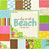 A Day at the Beach 12x12 Scrapbooking Paper Pad, 80 Sheets, Palms, Seahorses, Waves, Hibiscus