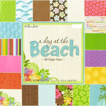 A Day At The Beach 12X12 Scrapbooking Paper Pad  80 Sheets  Palms  Seahorses  Waves  Hibiscus