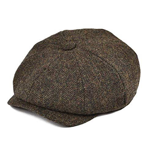 BOTVELA Men's Premium Wool Classic Flat Ivy Newsboy Cap Herringbone Pattern Flecked Hat (Herringbone Coffee, Small)