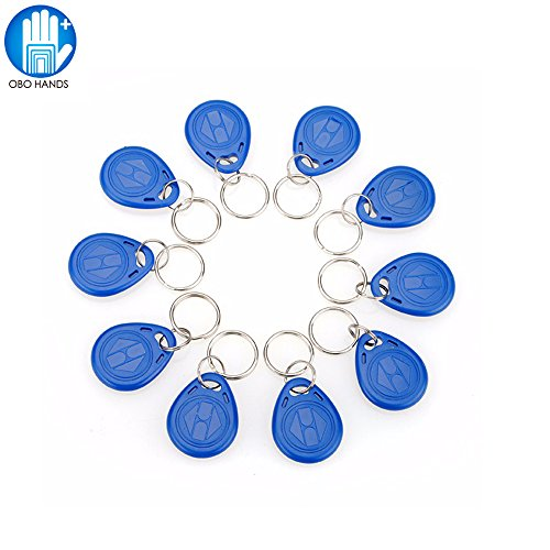 OBO HANDS 125KHz Rewritable RFID Keychain Keyfobs T5577 Key token Tag for Access Control User Card Blue … (50) by OBO HANDS
