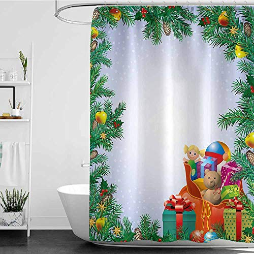 Shower stall Curtains,New Year Childrens Toys Composition Inside a Bag of Santa Teddy Bear Ball Ornate Boxes,Metal Build,W72x72L Multicolor