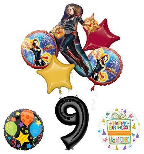Mayflower Products Captain Marvel 9th Birthday Party Supplies Jubilee Balloon Bouquet Decorations