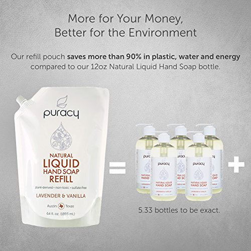 Puracy Natural Liquid Hand Soap Refill, Sulfate-Free Gel Hand Wash, Lavender & Vanilla, 64 Ounce by Puracy (Image #6)