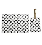Ankit Printed Passport Holder with Luggage Tag Set - Matching Travel Set for Women Men (Abstract Triangle)