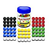 """Super Value Depot Chinese Checkers Glass Marbles. Set of 72, 12 Each Color. Size 9/16"""" (14mm) Practical Container."""