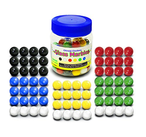 "Chinese Checkers Glass Marbles. Set of 72, 12 each Color. Size 9/16"" (14mm), with Practical Container."