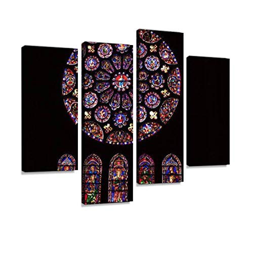 Chartres Cathedral Rosette Stained Glass (Interior), France Canvas Wall Art Hanging Paintings Modern Artwork Abstract Picture Prints Home Decoration Gift Unique Designed Framed 4 Panel