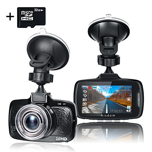 """Aisdom 1080P Full HD Dash Cam With 32GB Card, Dash Camera For Cars Dashboard Camera, 2.7"""" LCD Screen, 160 Degree Wide-Angle View, G-Sensor, Night Vision, WDR, Parking Guard, Loop Recording, LDWS, FCW"""