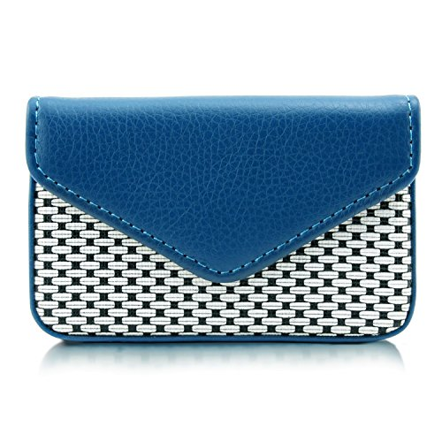 MaxGear PU Leather Business Card Holder Wallet Professional Business Card Case Name Card Holder Cards Organizer with Magnetic Shut Fashion Blue, Holds 25 Business Cards Cute Business Cards